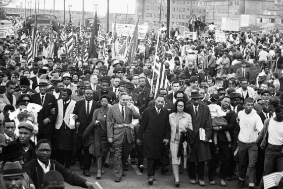 The march from Selma to Montgomery, Alabama, led by Dr. Martin Luther King, SNCC and community members