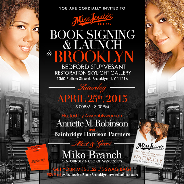 Miss Jessie's, book signing, Restoration Plaza, April 25, Miko Branch, Titi Branch, Assemblywoman Annette Robinson, natural hair