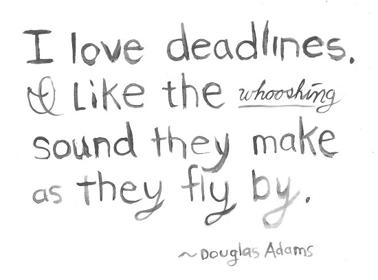 Harriet Faith, Art, Illustration, Pay Attention To Your Dreams, Quotes, Inspiration, Motivation, Dreams, Hand Lettering, Drawing, Painting, Douglas Adams, Deadlines, Whooshing