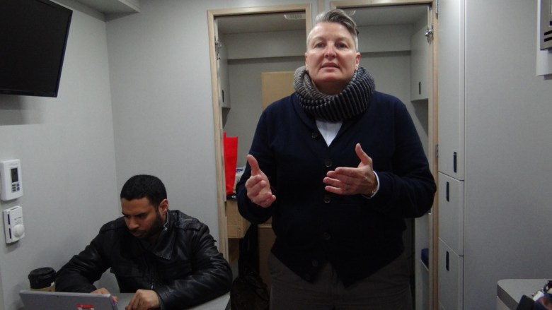 Melissa Mowery, program director for CAMBA Homebase, gives a tour of the inside of the 'You Can Van'