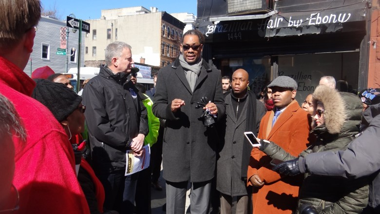 City Councilmember Robert Cornegy with Mayor Bill de Blasio at an impromptu press conference on Fulton St and Tompkins Ave., around the issue of affordable housing in his 36th Council District of Bed-Stuy and Crown Heights
