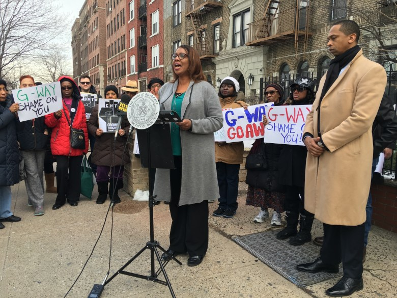PA James, along with Assemblymember Walter Mosley held a press conference in front of 410 Eastern Parkway in protest of unscrupulous tactics by landlords to force tenants out of their homes