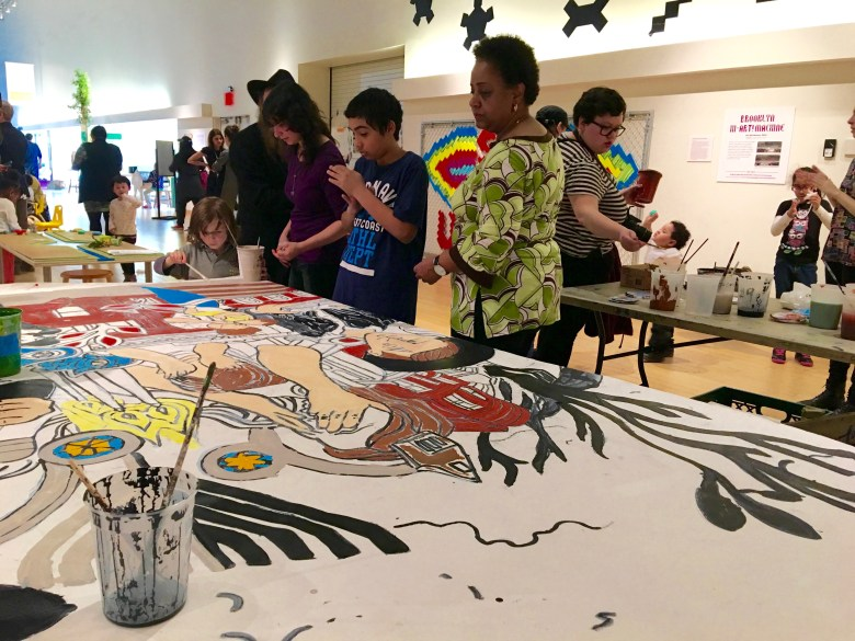"""New York City Council Member Laurie A. Cumbo, joined by children, families, local residents of all ages and organizations, were at the Brooklyn Children's Museum on Thursday, for the painting of """"One Crown Heights,"""" a community mural highlighting the beauty and cultural diversity of the neighborhood"""