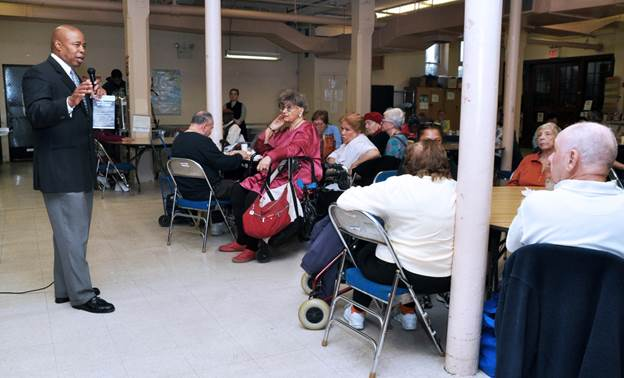 Brooklyn Borough President Eric L. Adams shared a series of crime prevention tips with members of the Park Slope Center for Successful Aging, following a number of local attacks on the elderly.  Photo: Erica Sherman/Brooklyn BP's Office