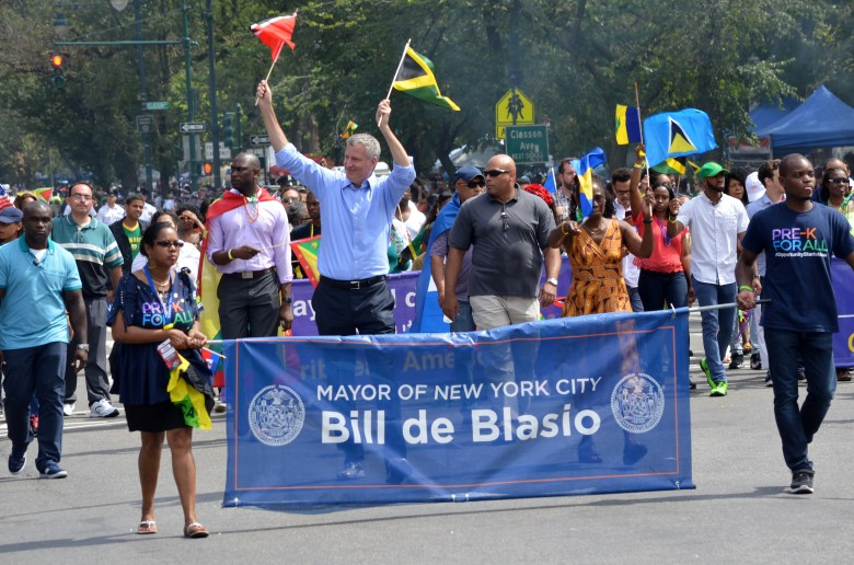 NYC Mayor Bill de Blasio marches in The 2016 West Indian Day Parade in Brooklyn Photo: Gregory L. Ingram for BK Reader