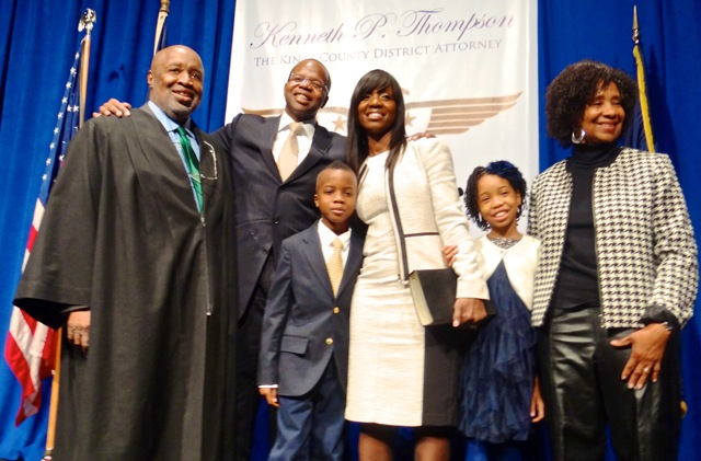 Kenneth Thompson (second from left) at his inaugural ceremony as Kings County District Attorney with (l to r) the Hon. Sterling Johnson, Jr., his son Kenny Thompson, his wife Lu-Shawn M. Benbow-Thompson, his daughter Kennedy Thompson and his mother Mrs. Thompson, cancer, dies