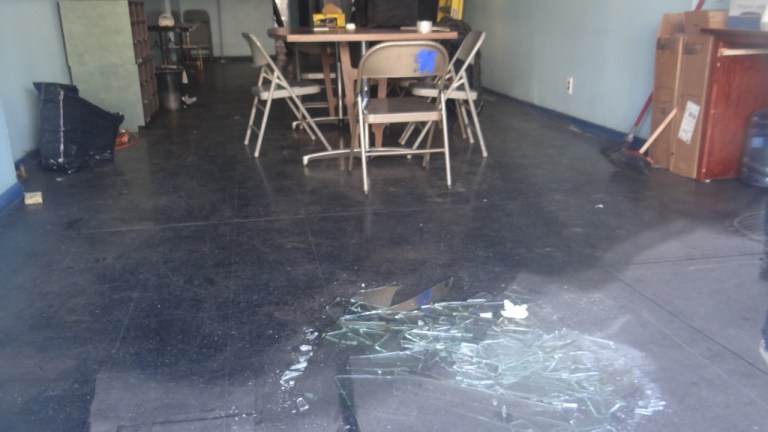 Inside of 1424 Fulton Street after it was broken into, vandalized and almost stolen as a result of deed fraud