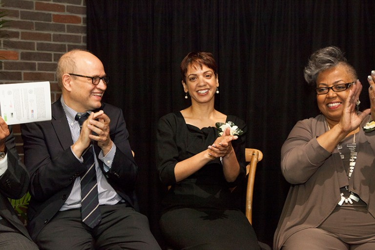 (l to r): Tony Finkelpearl, Commissioner of the NYC Department of Cultural Affairs; Dr. Indira Etwaroo, Executive Director for RestorationArt and Billie Holiday Theatre; and Marjorie Moon, Billie Holiday Theatre theatre's Executive Director Emeritus