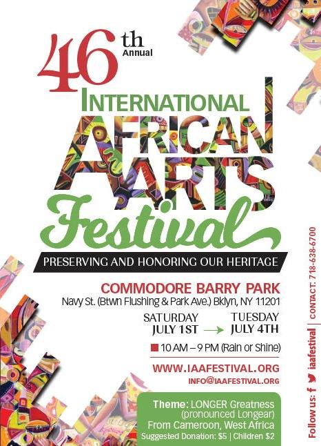 African Street Carnival, Commodore Barry Park, African Marketplace, African diaspora, Fort Greene, BK Reader, African arts and crafts, The International African Arts Festival, IAAF, Tito Puente Jr., African dance, African dance workshop, symposium, Afrobeat,