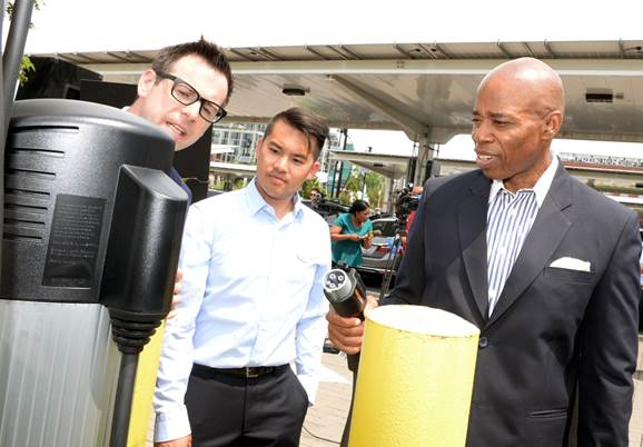 clean energy, Brooklyn Borough President Eric L. Adams, Eric Adams, sustainable energy, Fuel NY initiative,sustainable development, fossil fuel, hydrogen energy, electric energy, electric cars, solar panels, wind-power, electric vehicle charging stations, NYC DOT, NYLCV,