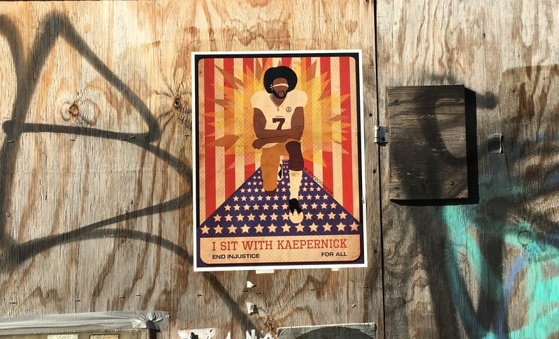 Jeff Rothberg, BK Reader, Colin Kaepernick, Brooklyn art, digital / graphic design, painting, drawing, clothing, photography, silk screen, lino print, stained glass, ceramics, Battle in Brooklyn, I Sit With Kaepernick, It's All Fun and Games