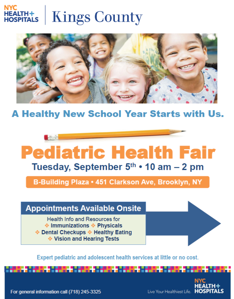 back to school, BK Reader, free health clinic, health fair, pediatric health, free health screenings, immunization, bullying, student stress, uninsured, the Administration for Children's Services, Thrive NYC, Department of Youth and Community Development, immigrants,