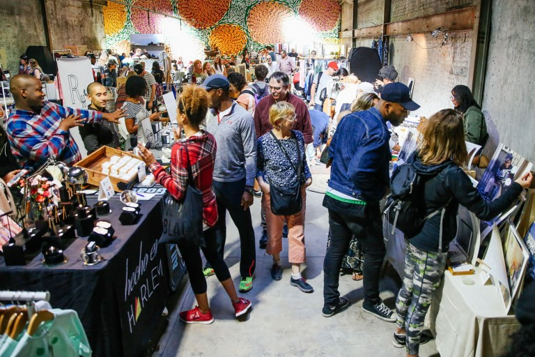 FAD Market, BK Reader, pop-up market, Brooklyn artists, Issue Project Room, Citypoint, Albee Square West, Brooklyn designers, OMY, kids' art, art installation, wood art installation, mural art, Abraham McNally, handcrafted art, Invisible Dog Art, jewelry, apparel, body care, tableware, home furnishings