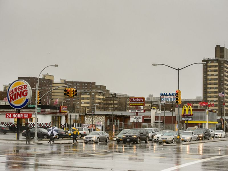 East New York has the highest concentration of fast food restaurants in NYC.