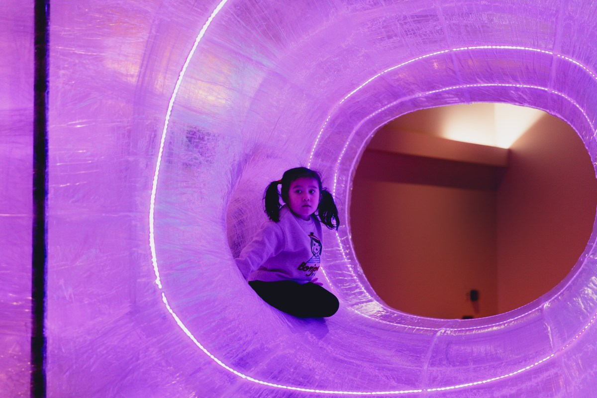 TapeScape is a multi-sensory art installation made entirely of clear tape.