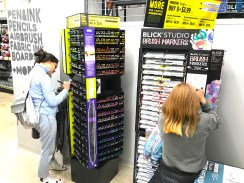 Customers testing the goods at Blick Art. Photo credit: A. Leonhardt for BK Reader