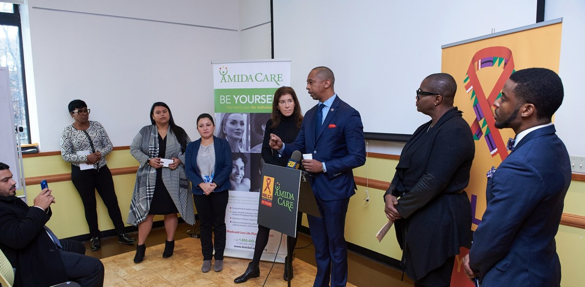 Assemblymember Mosley and various organizations gathered at Brooklyn Public Library to raise awareness around HIV in Brooklyn.