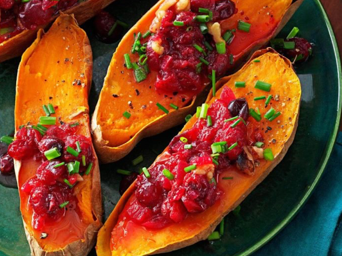 with today's dish, cranberry-walnut sweet potatoes, you combine two Thanksgiving flavors in one: cranberries and sweet potatoes!