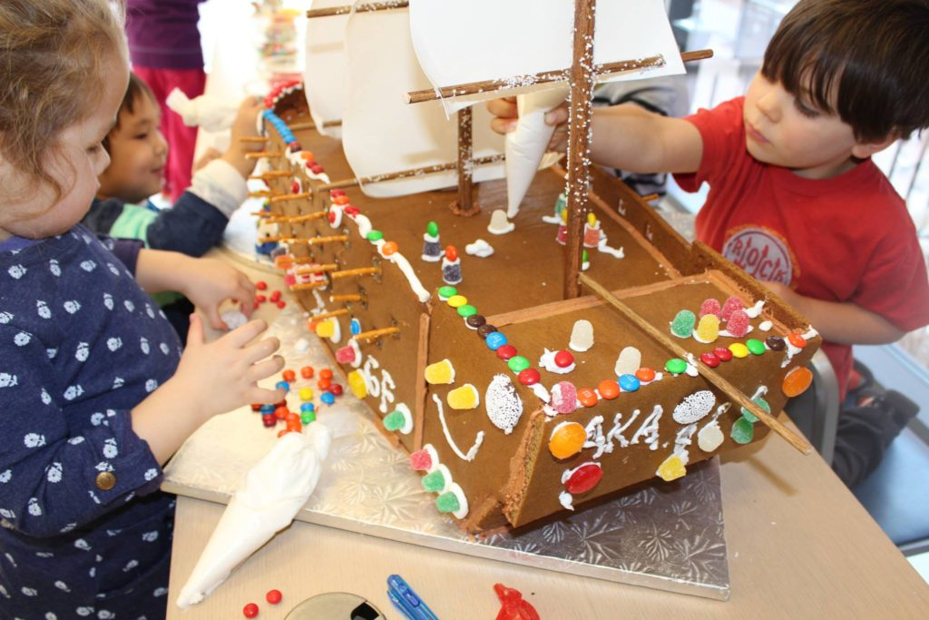 Young apprentices can learn about the Navy Yard's history while sipping on hot cocoa and decorating a large gingerbread ship