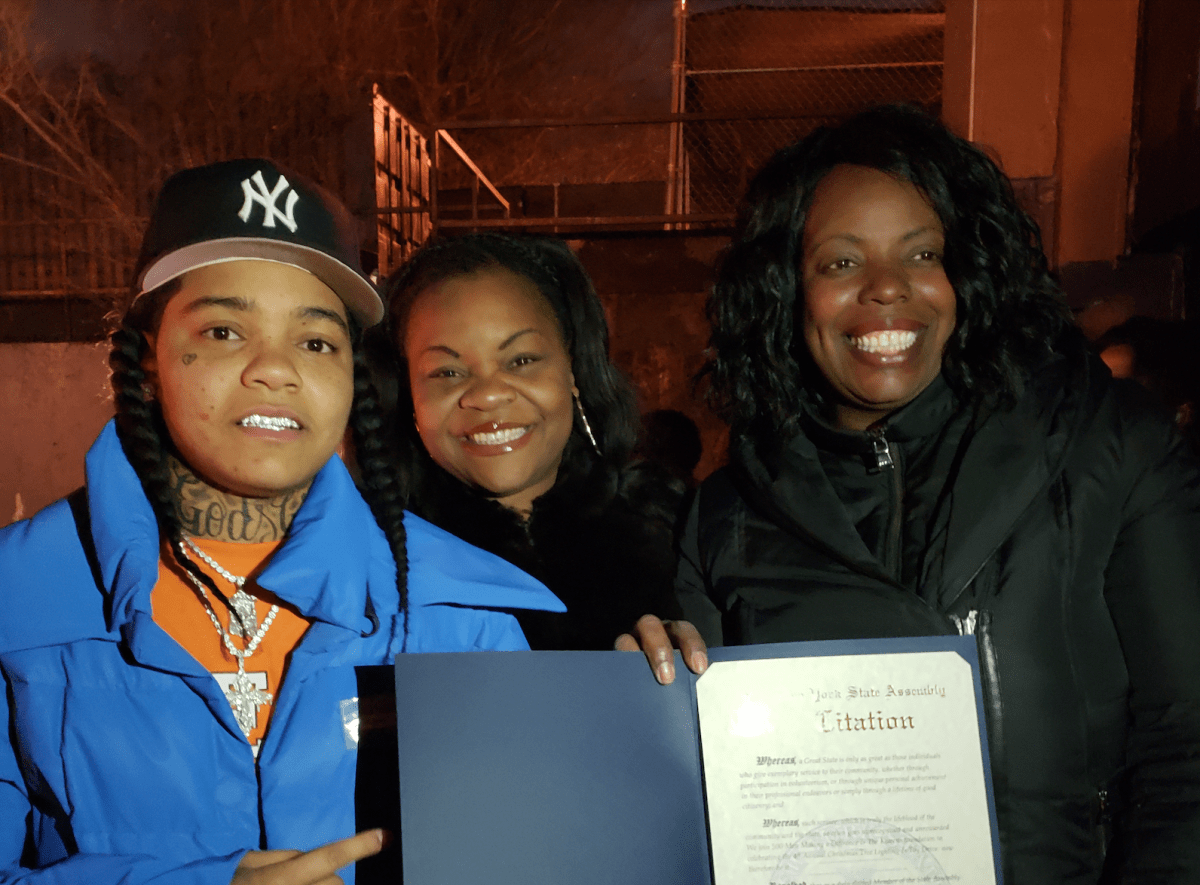 The Bed-Stuy rapper joined local org 500 Men Making A Difference for a toy drive and tree lighting