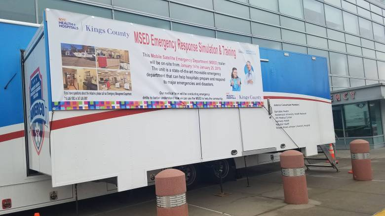 NYC Health + Hospitals/Kings County staff conducted an emergency response simulation inside a Mobile Satellite Emergency Department trailer.
