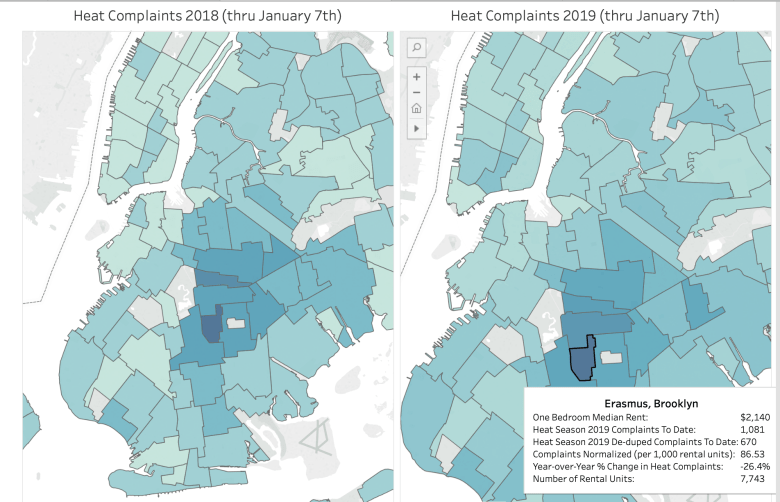 Residents of the Flatbush subsection Erasmus have filed the most heat complaints for two consecutive years.