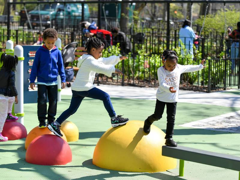 The playground underwent a $4 million overhaul and now features new play equipment, a spray shower, swings, benches, tables, chairs and more