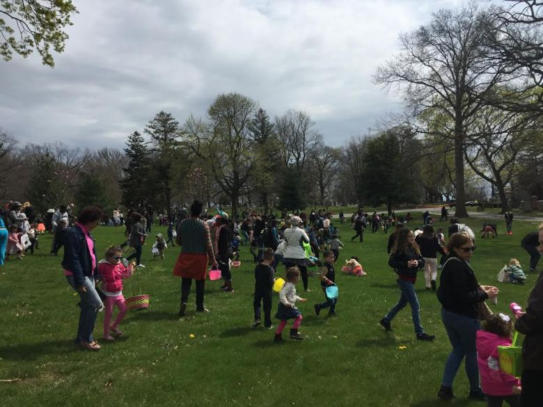 Easter Egg Hunt at the Evergreens Cemetery.
