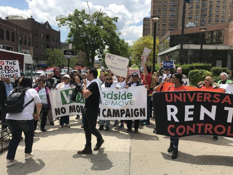 Housing rights activists march towards Medgar Evers College