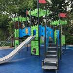 Student-designed playground structure in Crown Heights