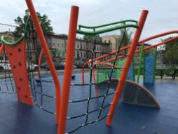 A new playground structure in Crown Heights