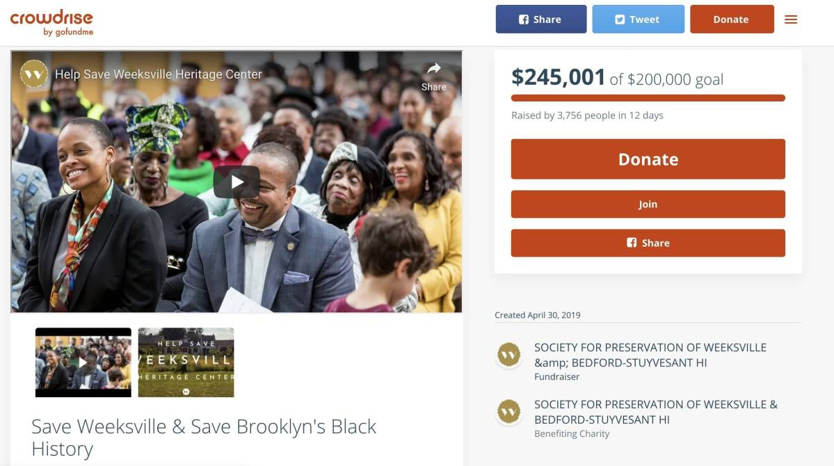 After nearly two weeks of nail-biting outreach and campaigning, Weeksville Heritage Center on Saturday raised enough money to meet its financial goal.