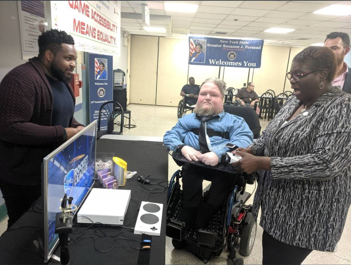 Senator Persaud and AbleGamers brought custom video game tech to battle it out with Brooklynites with disabilities at Brookdale Hospital.