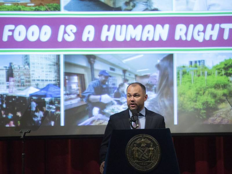 City Council Speaker Corey Johnson unveiled a new comprehensive agenda on how to tackle the city's pervasive issue of food insecurity.