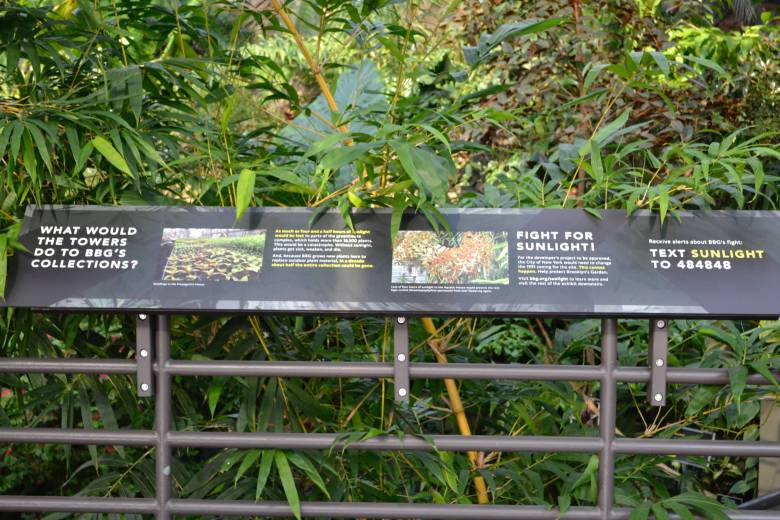 The exhibit showcases the garden's collection of plants species and details how a proposed development may threaten its survival