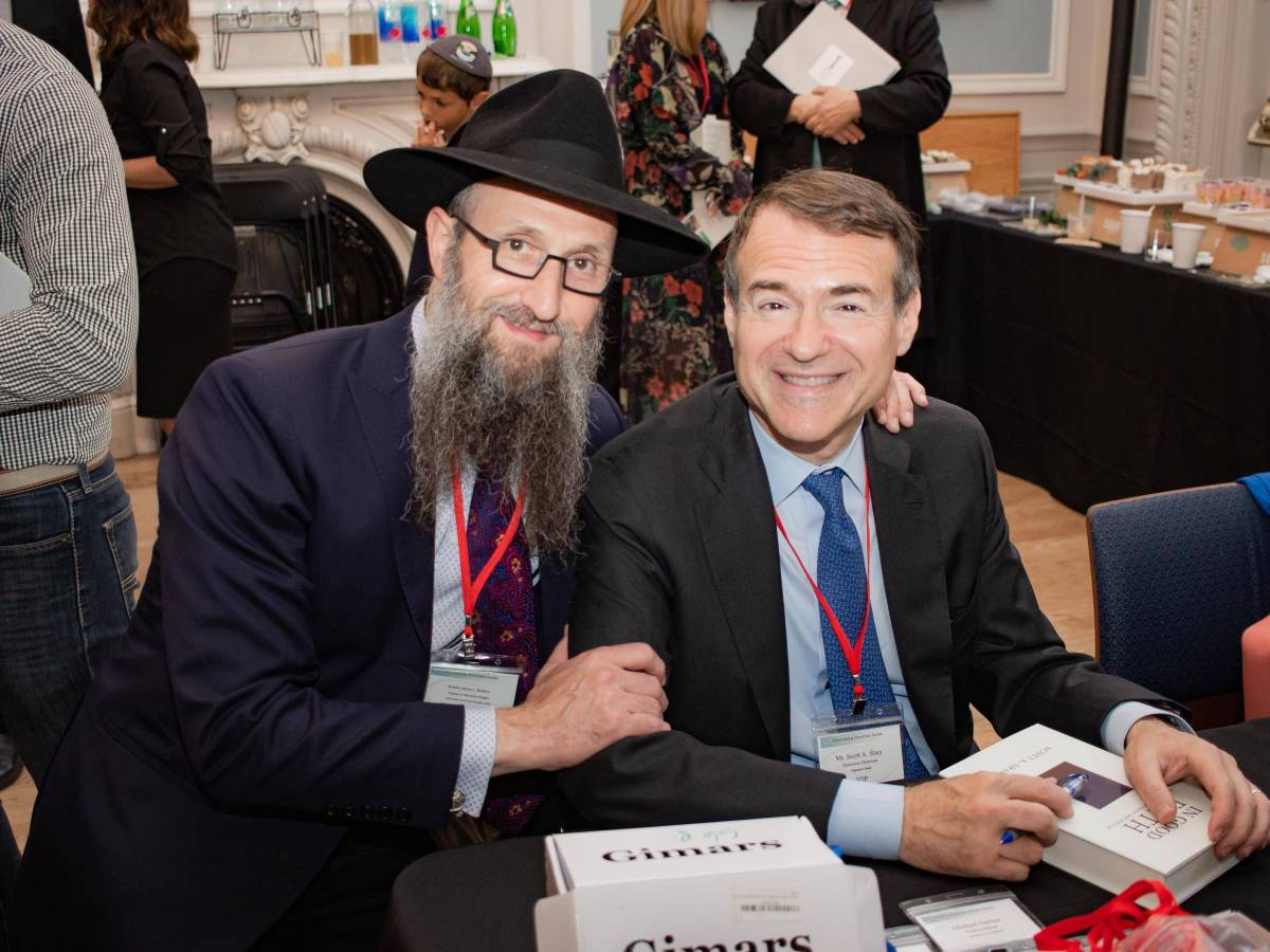 """Signature Bank Co-founder and Executive Director Scott A. Shay (l.) discussed his new book """"In Good Faith."""""""