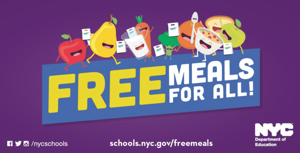 New York City Department of Education, free meals, meal hubs, food hubs