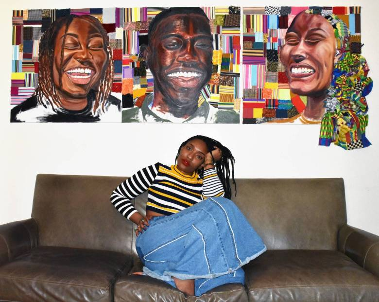 """""""As an artist and enthused educator who peels apart topics on race, gender, and identity, [Roberts] seeks to create and facilitate socially responsive work that encourages ideas of self-realized liberation,"""" her website reads."""