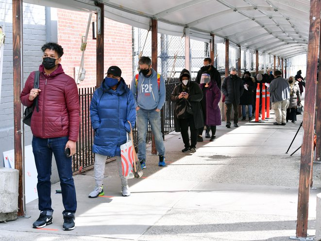 """""""It's For My Health"""": Brooklynites Line Up To Get Vaccinated At Medgar Evers College"""