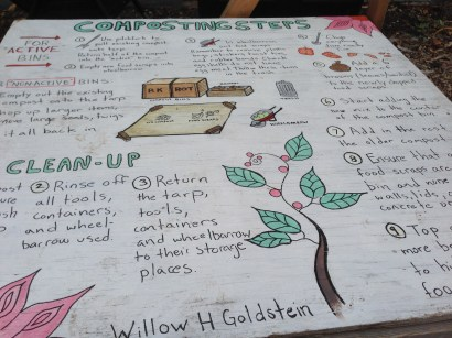 The compost sign that Willow Goldstein painted for our bins.