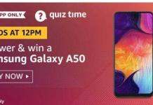 amazon quiz today 28 august win samsung galaxy a50
