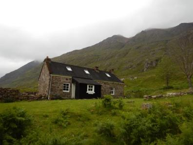 Shenavall bothy which John ran to during a training outing.