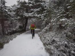 John rides up the path towards the 'Green Lochan'.