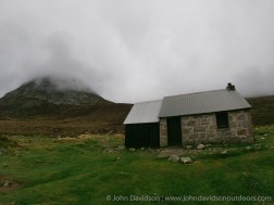 Corrour bothy and Bod an Deamhain - the Devil's Point.