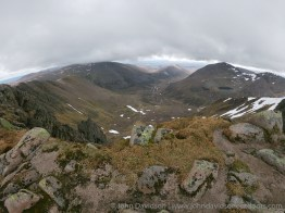Looking down Coire Bhrochain into the Lairig Ghru with cloud just covering the summit of Ben Macdui.