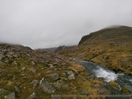 The outflow from Loch Etchachan drops into the Derry Burn.