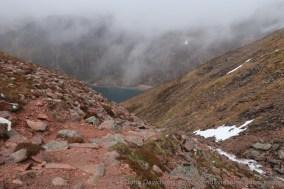 The start of the steep descent through Coire Raibert.