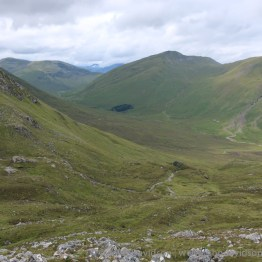 On the descent of Maoile Lunndaidh looking down to Glenuaig Lodge.