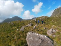 Skies start to clear as the runners approach Coire Lair.
