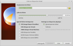 On choisi la taille du fichier ou disque virtuel. On choisi le format de ce dernier ainsi qu'une allocation fixe ou dynamique